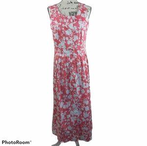 JG Hook Pink Floral Button Up Sleeveless Dress